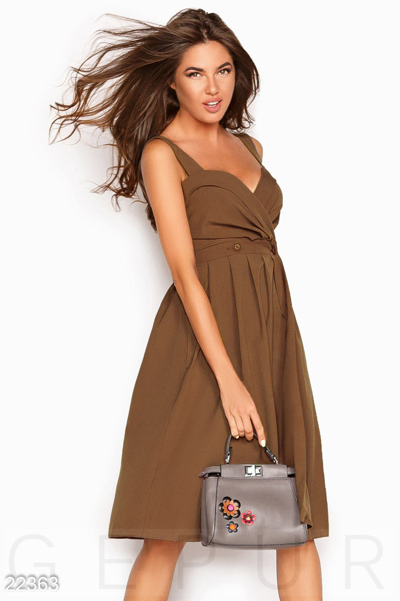 Женский коричневый сарафан в деловом стиле