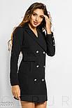 Черное платье-пиджак двубортного кроя, фото 2