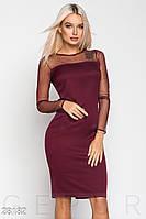 Элегантное офисное платье цвета марсала