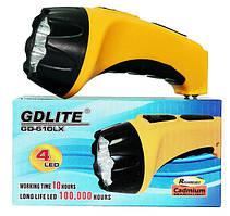 Фонарь светодиодный ручной gd-610lx, 4 led cree, встроенный аккумулятор, зарядка от сети, выдвижная вилка