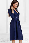 Женское изящное темно-синее платье а-силуэта, фото 2