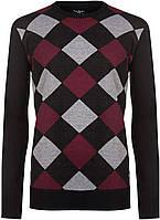Свитер мужской Pierre Cardin Ромбы бордовые с черным, XL, фото 1