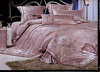 Постельное белье из жаккарда и сатина, розовое
