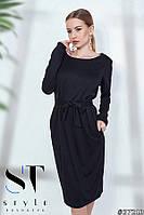 Сдержанное платье в стиле Кэжуал, черное Арт. 37213, фото 1