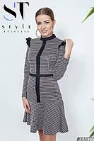 """Платье в ретро стиле """"Кокетка"""" в клеточку, серо-красное Арт. 36877, фото 1"""
