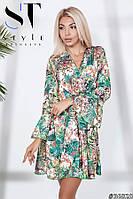 Яркое платье из креп-костюмки с цветочным принтом, Арт. 36828, фото 1