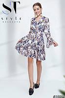Яркое платье из креп-костюмки с цветочным принтом, Арт. 36829, фото 1