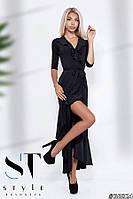 Эффектное платье на запах из микромасла, черное Арт.36824, фото 1