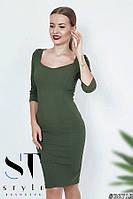 Стильное силуэтное платье с декольте, Хаки Арт. 36715, фото 1