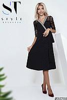 Платье-миди на запах с француским кружевом, Черное Арт. 36706, фото 1