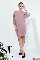 Трикотажное платье с люрексом в стиле оверсайз, Каппучино Арт. 36683, фото 1