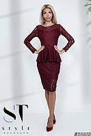 Гипюрное платье с баской, Марсала Арт. 36665, фото 1