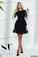 Нарядное гипюрное платье с пышной юбкой, Черное Арт. 36663, фото 1