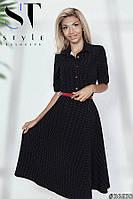 Платье-рубашка с расклешенной обкой Классика, Черное Арт.  36630, фото 1