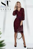 """Нарядное платье из гипюра """"Театральное"""", цвет Бордо, Арт. 36618, фото 1"""