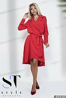 Эффектное платье-миди на запах, Красное Арт. 36606, фото 1