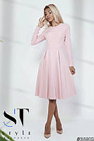 Красивое приталенное платье с расклешеной юбкой, Пудра Арт. 36602, фото 1