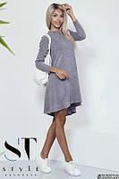 Платье А-силуэт из ангоры, серое Арт.35829, фото 1