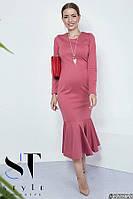 Платье из итальяского трикотажа Русалка, цвет пыльной розы Арт. 35828, фото 1