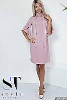 Коктейльное платье из плотного матового шелка, рукава с воланами, Розовое Арт. 35825, фото 1