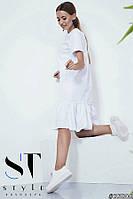 Котоновое платье с воланом, Белое Арт. 35806, фото 1