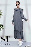 Длинное платье в стиле оверсайз с воротником-капюшоном и оборкой, серое Арт. 35804, фото 1