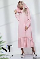 Длинное платье в стиле оверсайз с воротником-капюшоном и оборкой, розовое Арт. 35803, фото 1