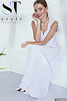 Женственное платье в пол из креп-шелка с плиссированной юбкой, белое Арт. 35784, фото 1