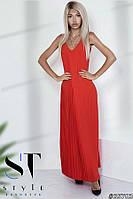 Женственное платье в пол из креп-шелка с плиссированной юбкой, красное Арт. 35783, фото 1