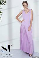 Женственное платье в пол из креп-шелка с плиссированной юбкой, лиловое Арт. 35782, фото 1