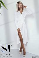 Трикотажное платье-миди на запах, цвет молоко Арт. 35779, фото 1