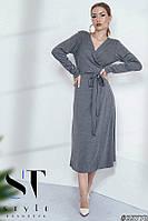 Трикотажное платье-миди на запах, цвет серый Арт. 35778, фото 1