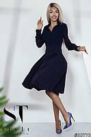 Платье-миди из комбинированных тканей, Темно-синее, Арт. 35773, фото 1