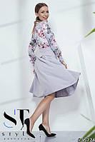 Платье-миди из комбинированных тканей, Серое+цветочный принт, Арт. 35774, фото 1