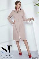 Платье-рубашка в стиле оверсайз, бежевое Арт. 35764, фото 1