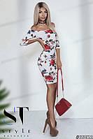 Облегающее платье из вискозы, принт Розы бежевое Арт. 35621, фото 1