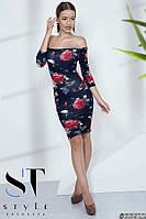 Облегающее платье из вискозы, принт Розы т.синее Арт. 35622, фото 1
