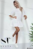 """Платье с широкой оборкой из трикотажа """"Кукурузка"""" Белое Арт. 35627, фото 1"""