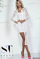 Нарядное платье-двойка гипюрное, белое Арт.35643, фото 1