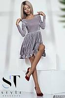 Нарядное платье-мини из бархата, цвет серебро Арт. 35637, фото 1