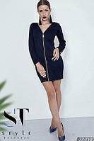 Короткое платье на молнии,т.синее Арт. 35670, фото 1