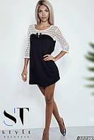 Повседневное платье с гипюрной кокеткой, черное Арт. 35671, фото 1