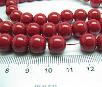 Бусины жемчужные красные диаметр 10 мм на нитке