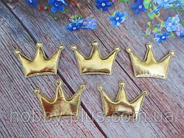 """Аппликация, патчи """"Корона глянец"""", цвет золото, 30х40 мм, 1 шт."""