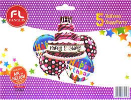 """Набор шаров """"Торт Happy Birthday"""". В упак:5 шт."""