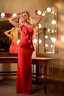 Вечернее платье в пол с воланом на одно плечо 110