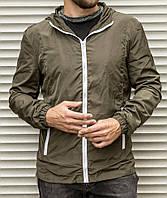 Мужская ветровка цвета хаки с капюшоном , из плащевки, фото 1