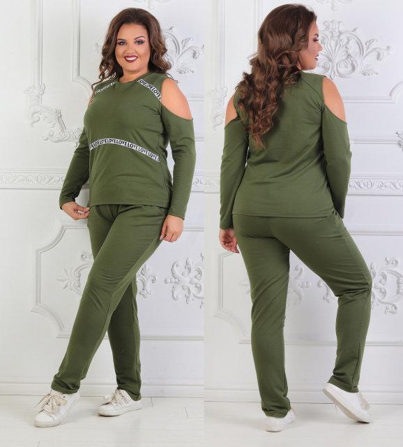 Женский спортивный костюм больших размеров 50+ с открытыми плечами, украшен лентами  / 2 цвета арт 6776-8