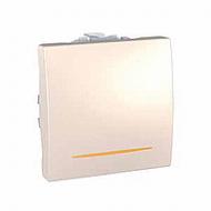 Переключатель 1-клавишный (перекрестный) с подсветкой, 2 мод., слоновая кость MGU3.205.25N