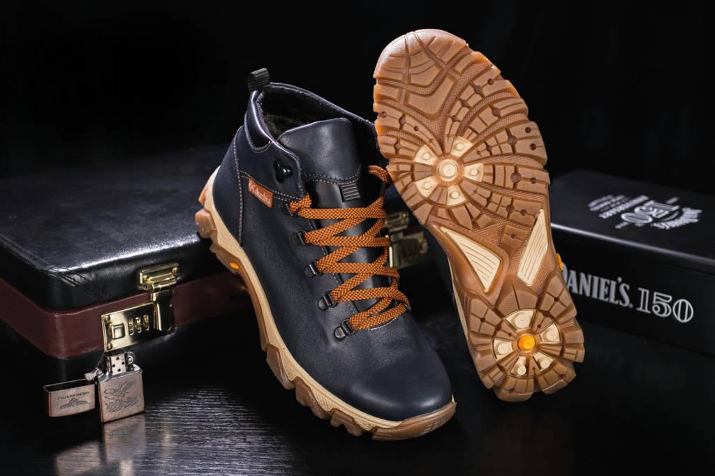 Ботинки зимние мужские кожаные Columbia реплика синего цвета ... ceb1a936624